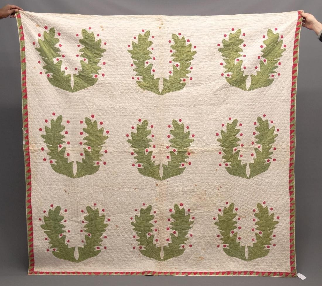 19th c. Floral Applique Quilt