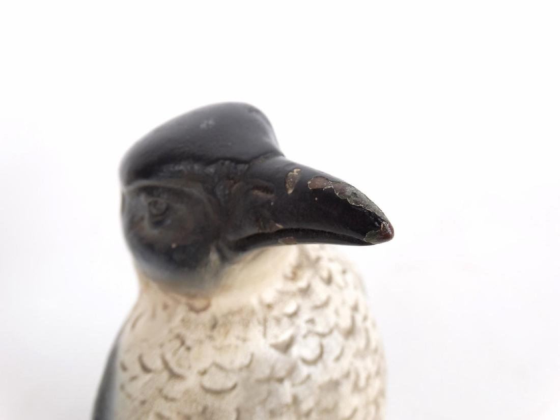 Pair C. 1900's Painted Composition Penguins - 7
