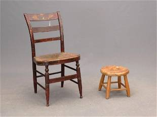 19th c Painted Side Chair Stool