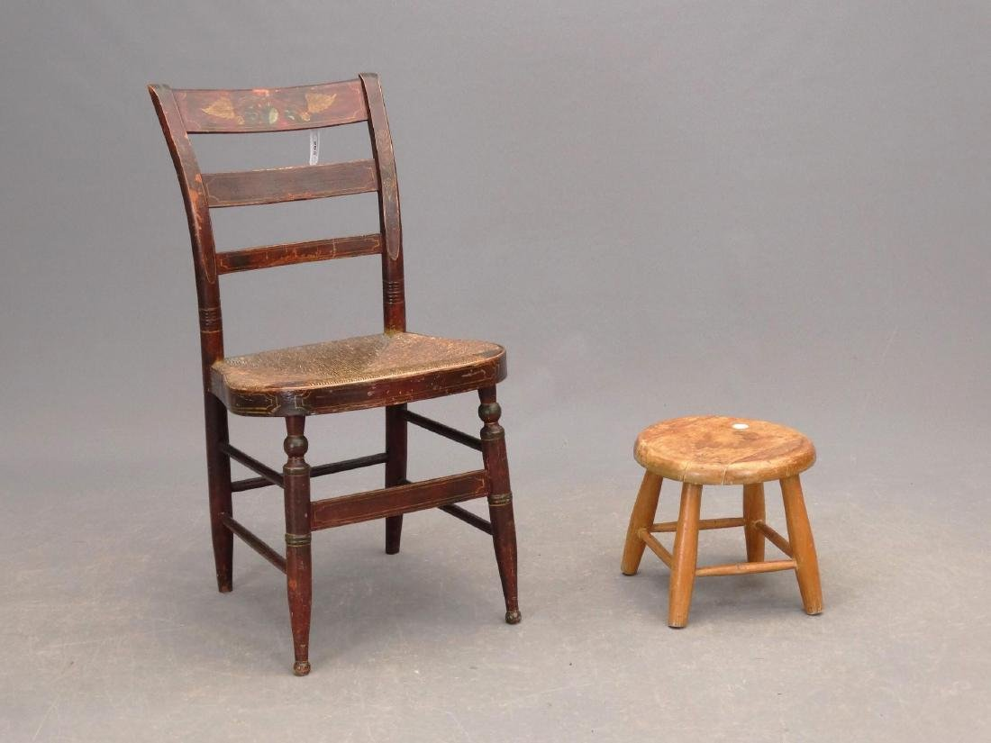 19th c. Painted Side Chair & Stool
