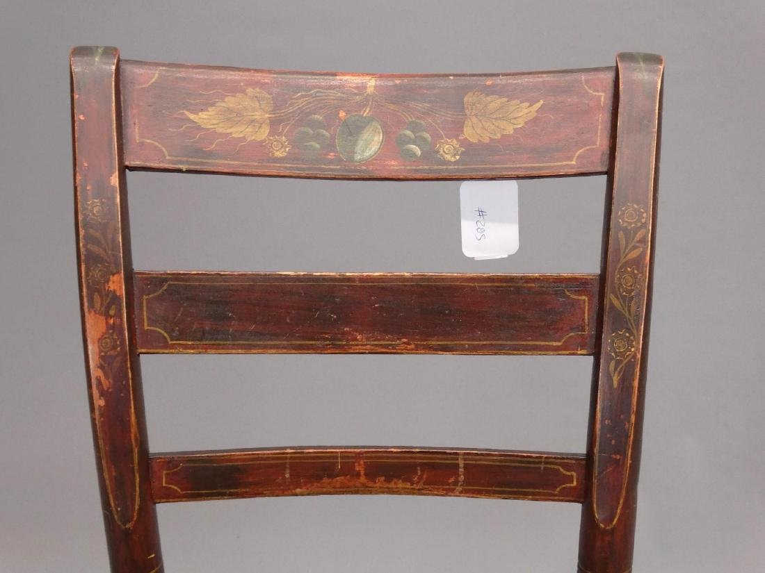 19th c. Painted Side Chair & Stool - 2