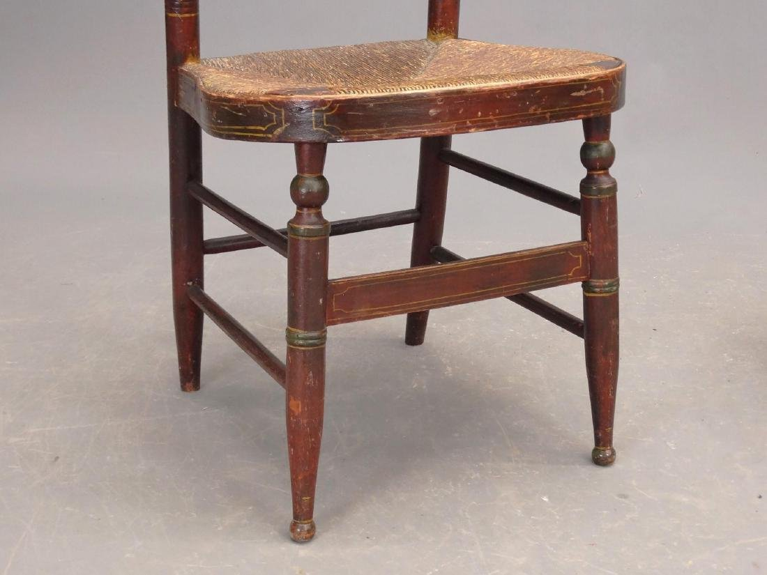 19th c. Painted Side Chair & Stool - 4