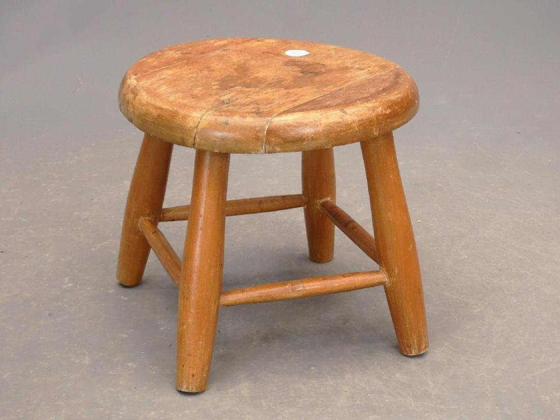 19th c. Painted Side Chair & Stool - 5