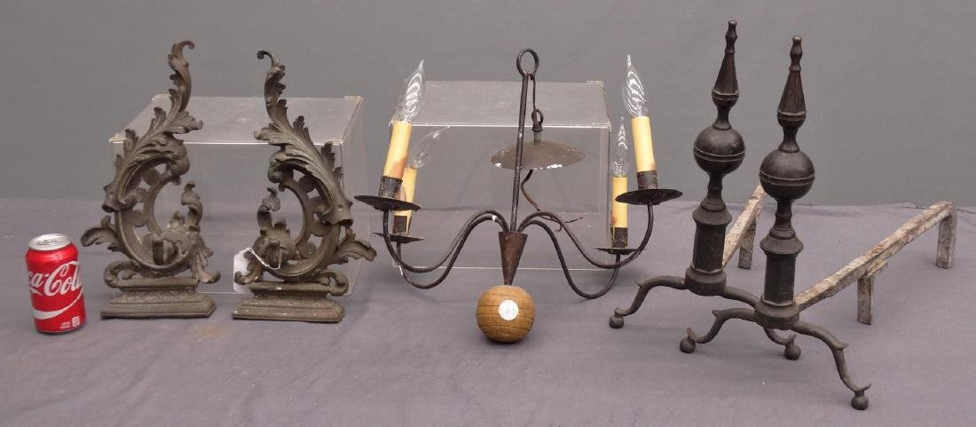 Pair 19th c. Steeple Top Andirons