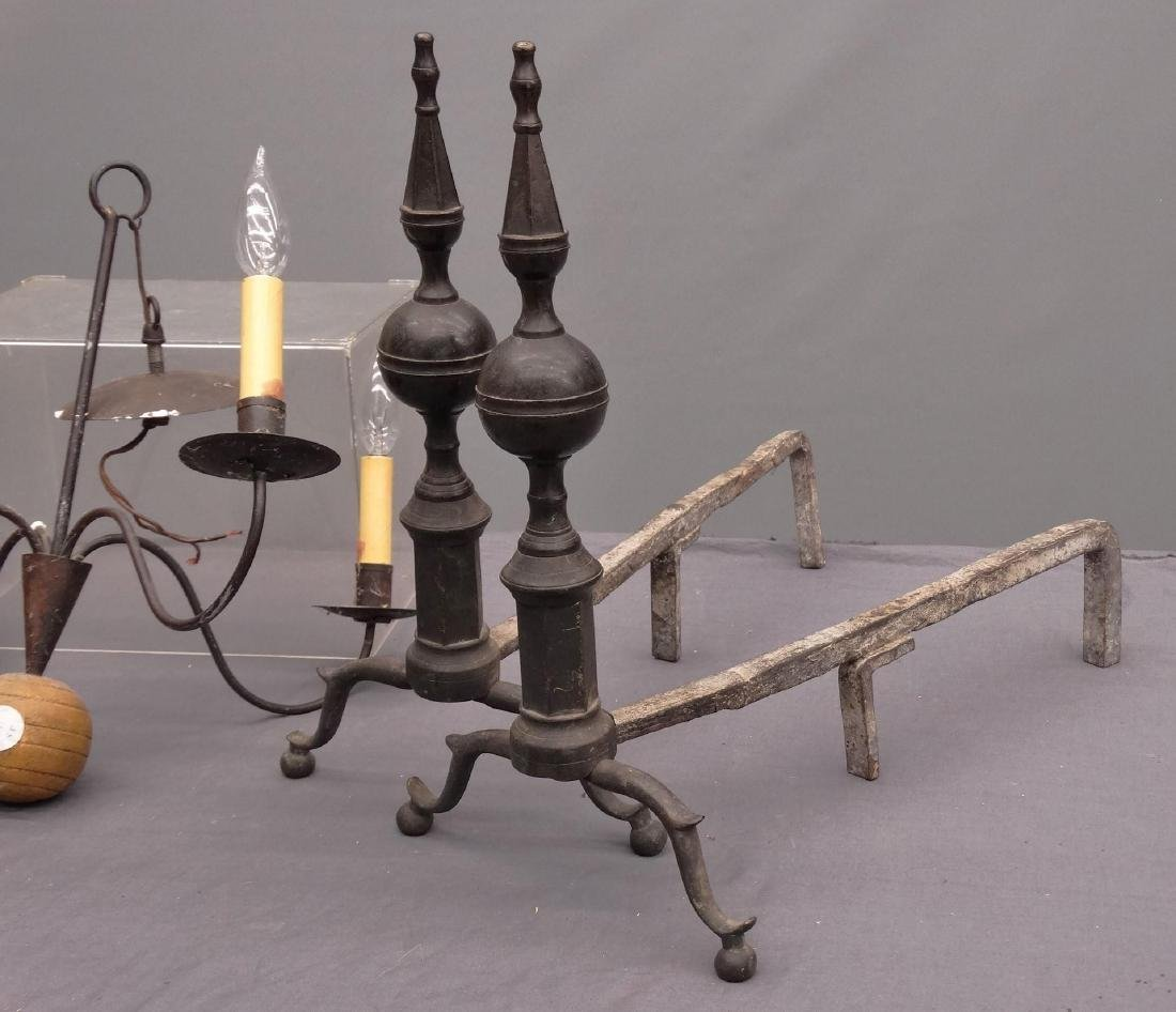 Pair 19th c. Steeple Top Andirons - 2