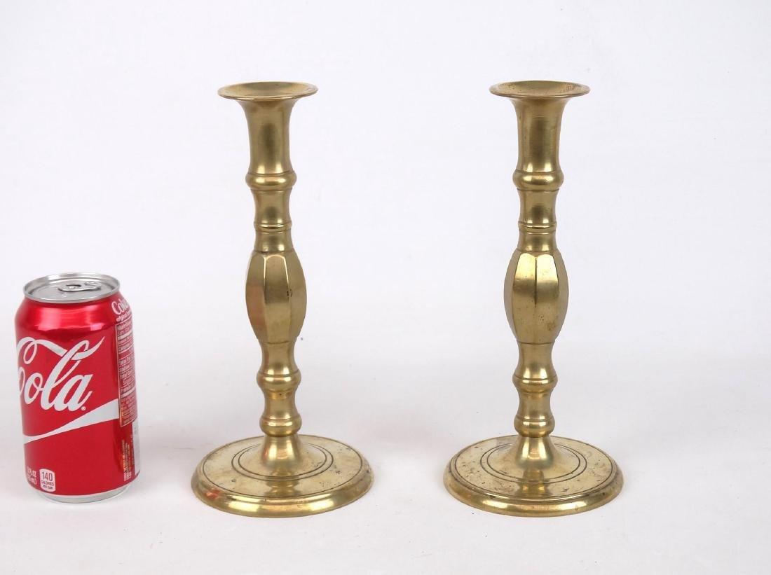 Pair 19th c. English Brass Candlesticks