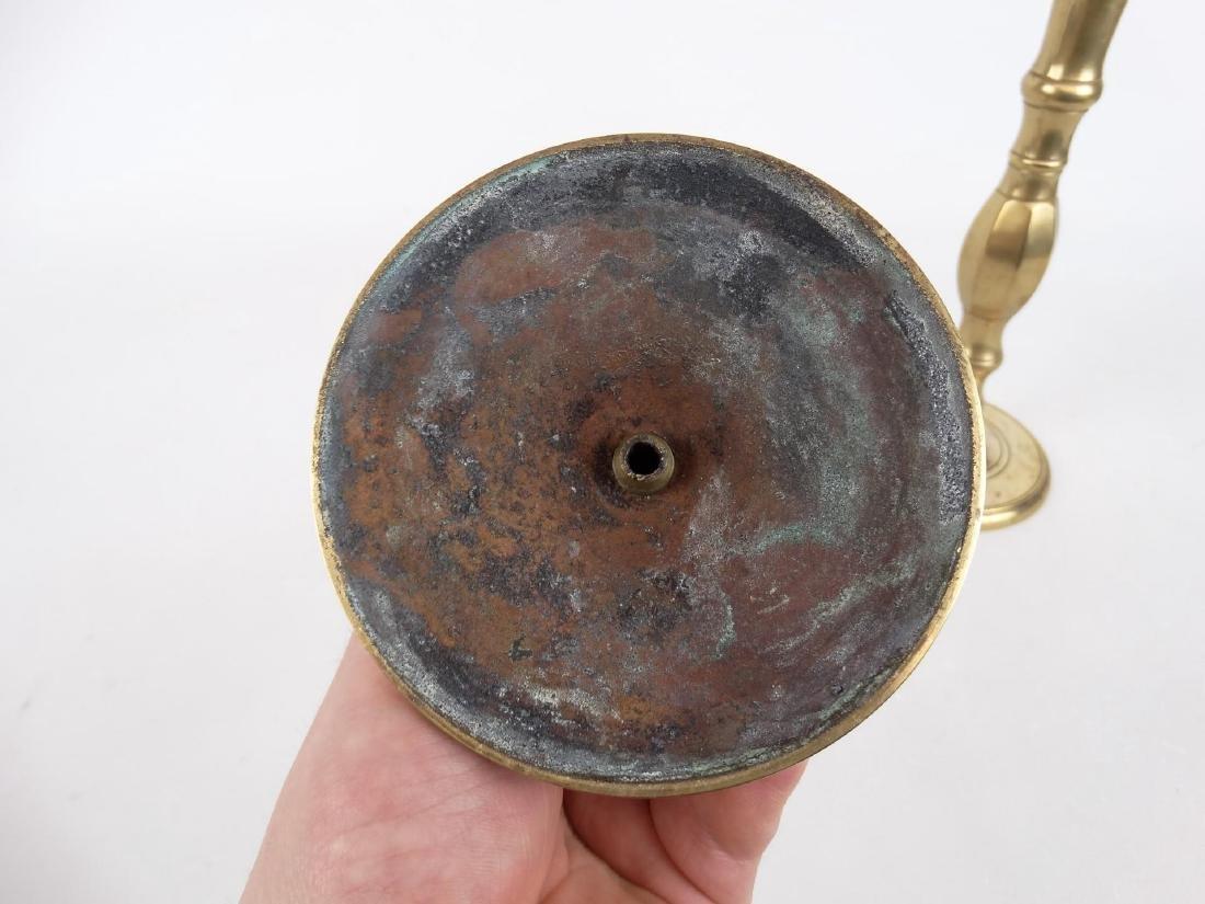 Pair 19th c. English Brass Candlesticks - 5