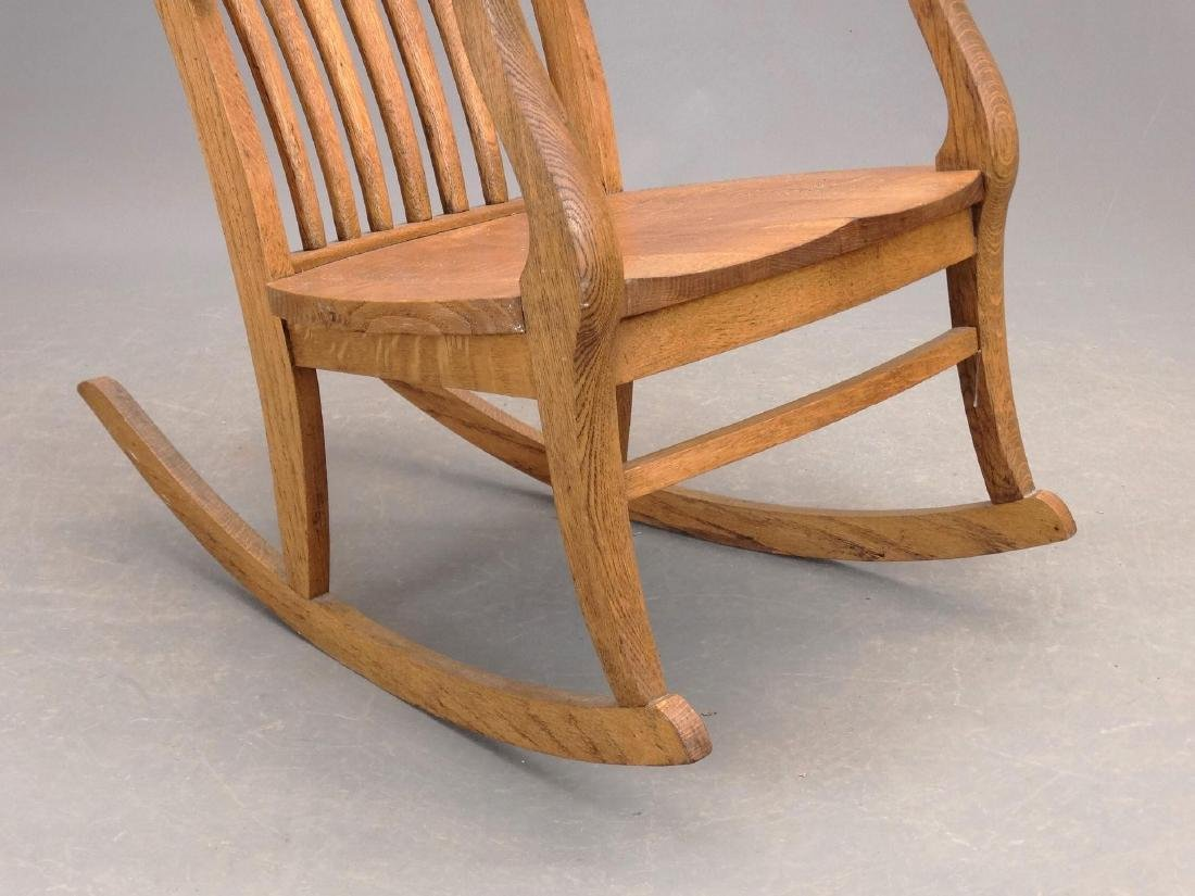 C. 1900 Oak Rocking Chair - 4