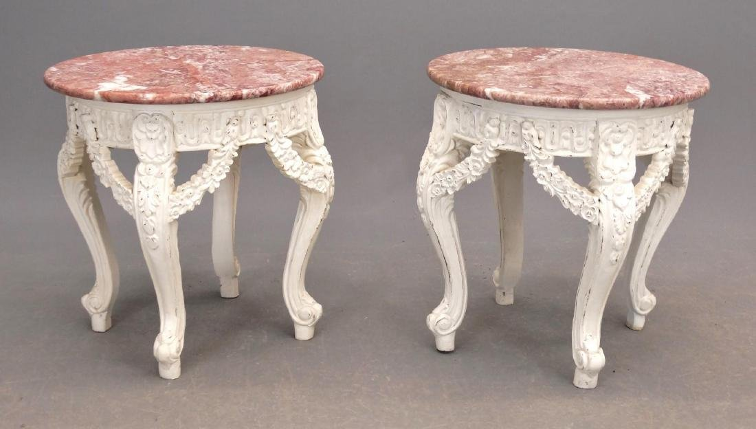 Pair Marble Top Stands