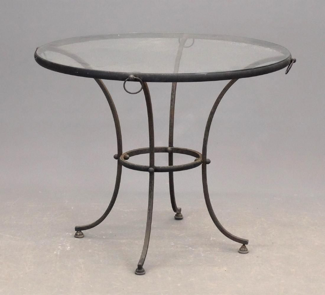 Glass Top Wrought Iron Base Table