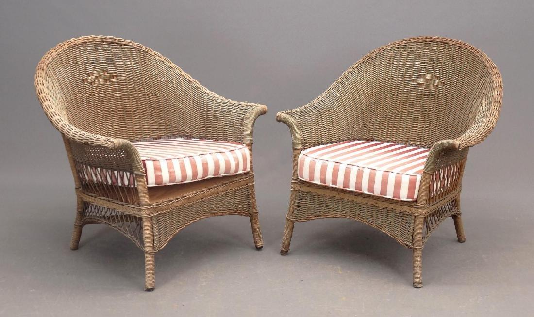 Pair Wicker Chairs