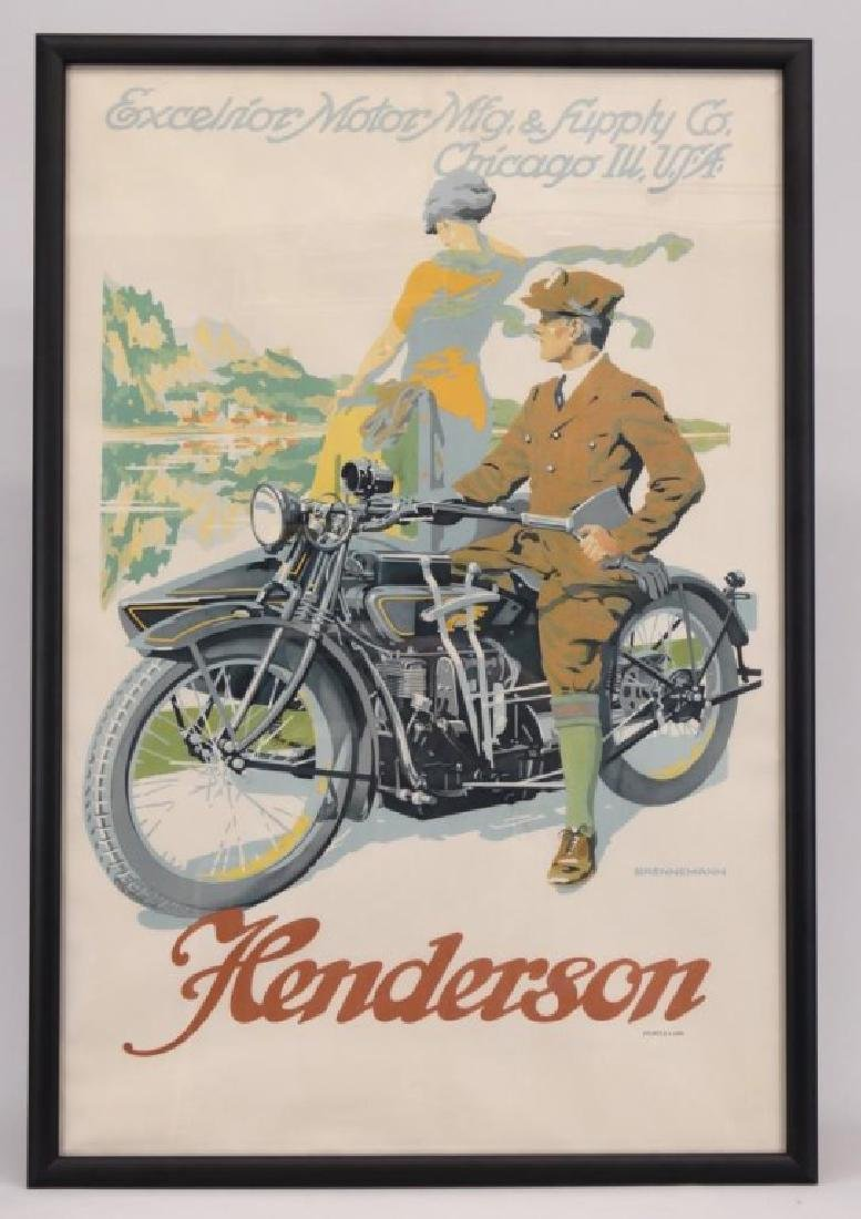 Rare Henderson Motorcycle Poster