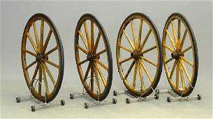 Set Of Rubber Tired Wood Spoked Wheels