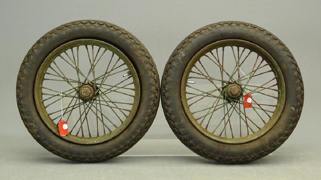 Two Antique Motorcycle Wire Spoke Wheels
