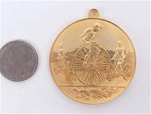 Gilt Medal With High Wheel Bicycle