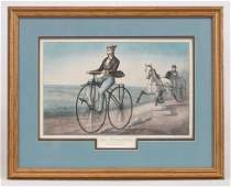 Currier  Ives print THE VELOCIPEDE
