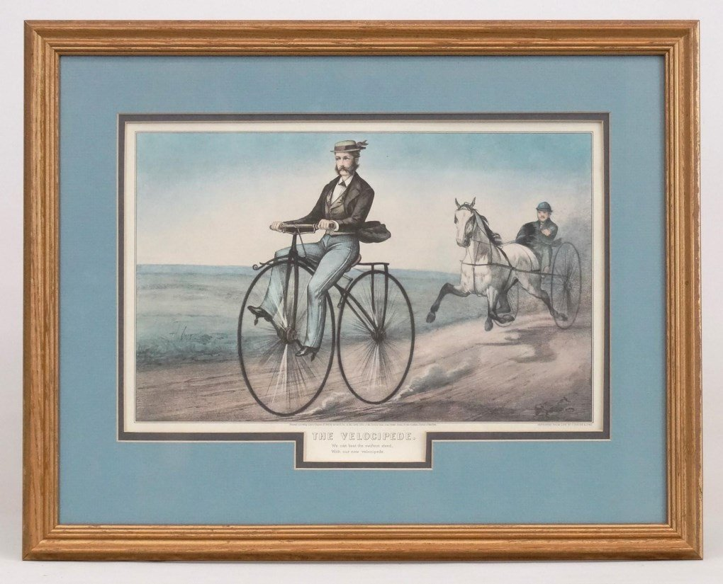 "Currier & Ives print ""THE VELOCIPEDE"""