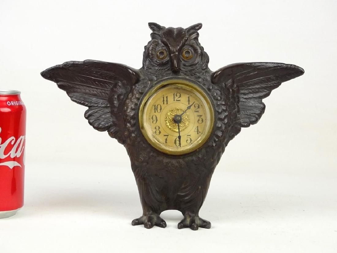 Cast Iron Figural Owl Clock