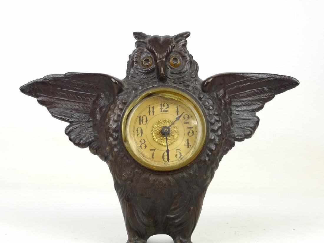 Cast Iron Figural Owl Clock - 2