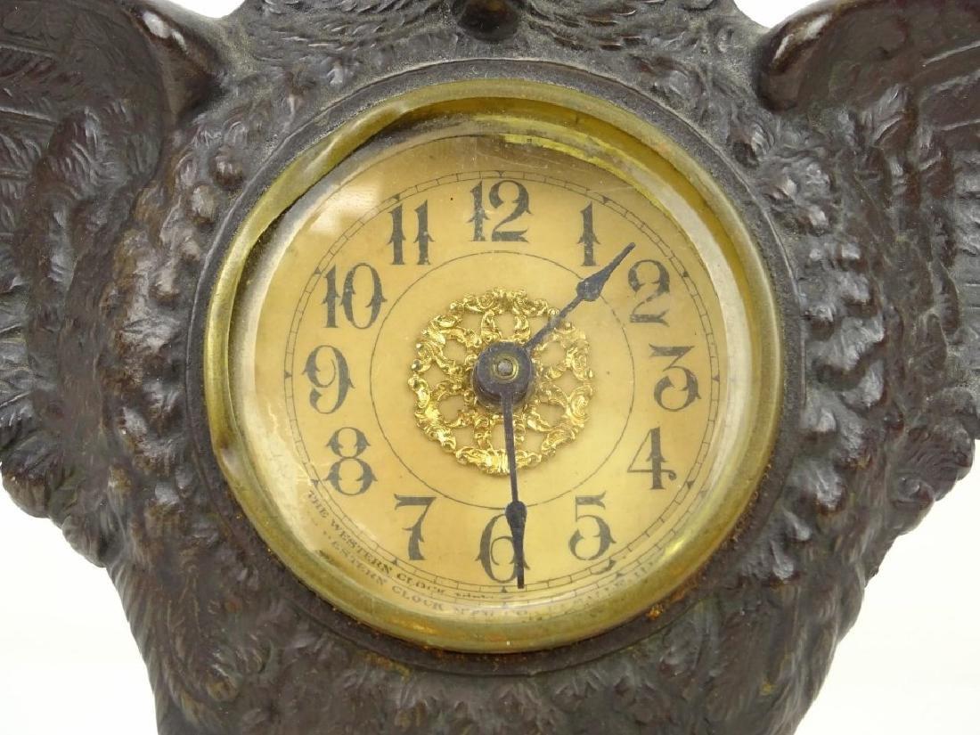 Cast Iron Figural Owl Clock - 3