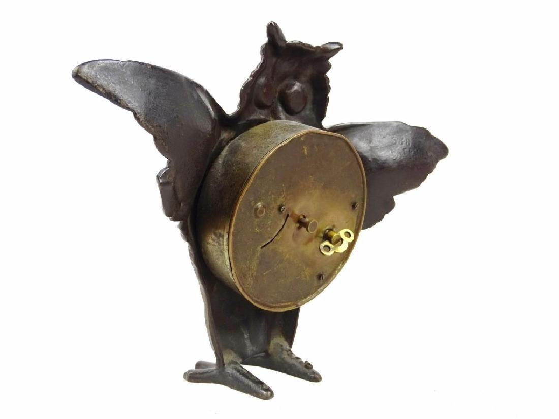 Cast Iron Figural Owl Clock - 6