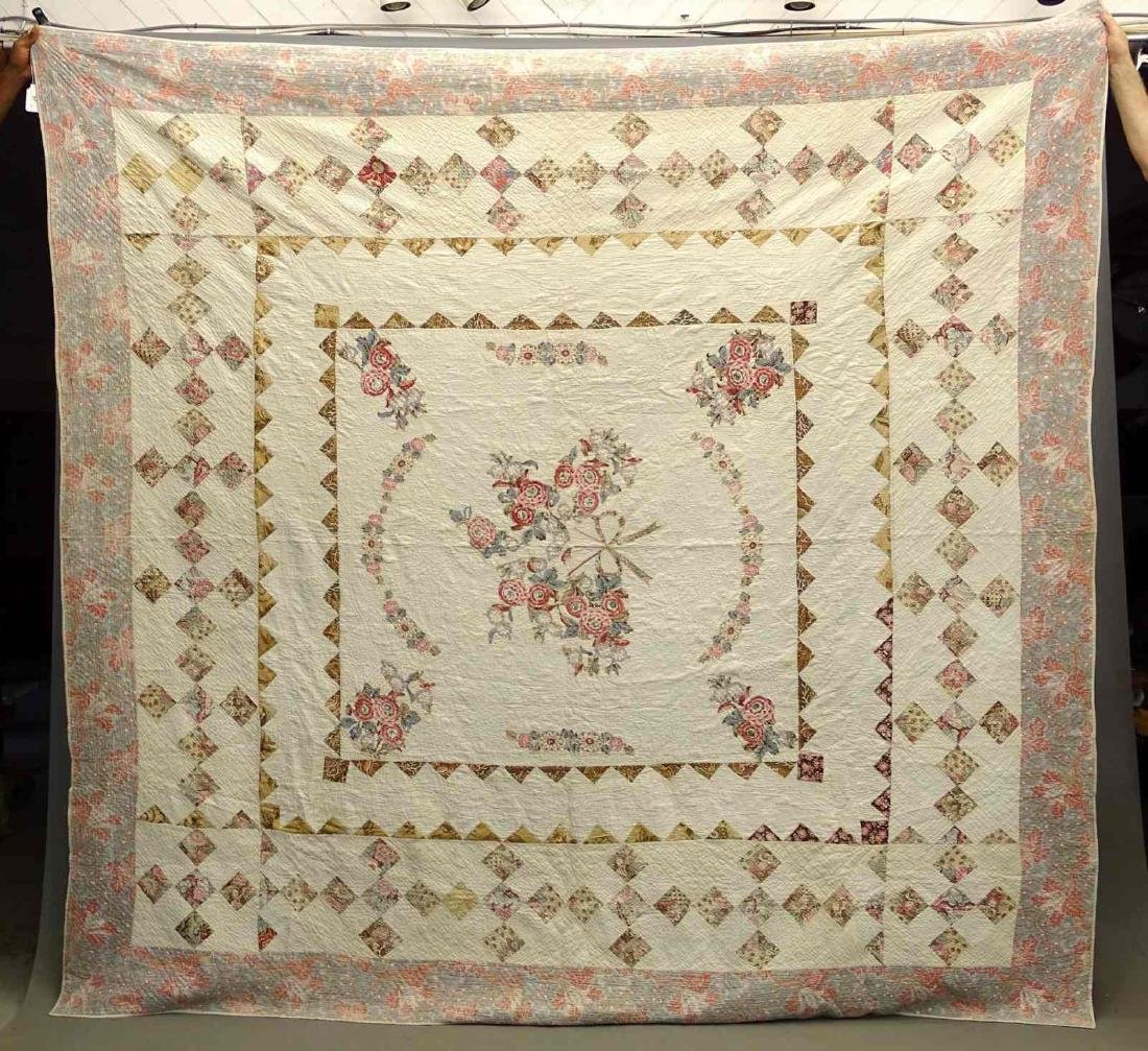 C. 1830's Broderie Perse Quilt