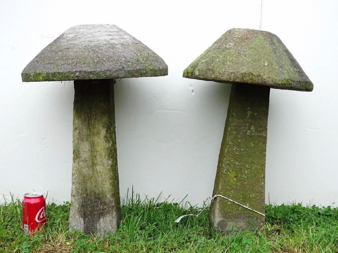 Pair Cut Stone Mushrooms
