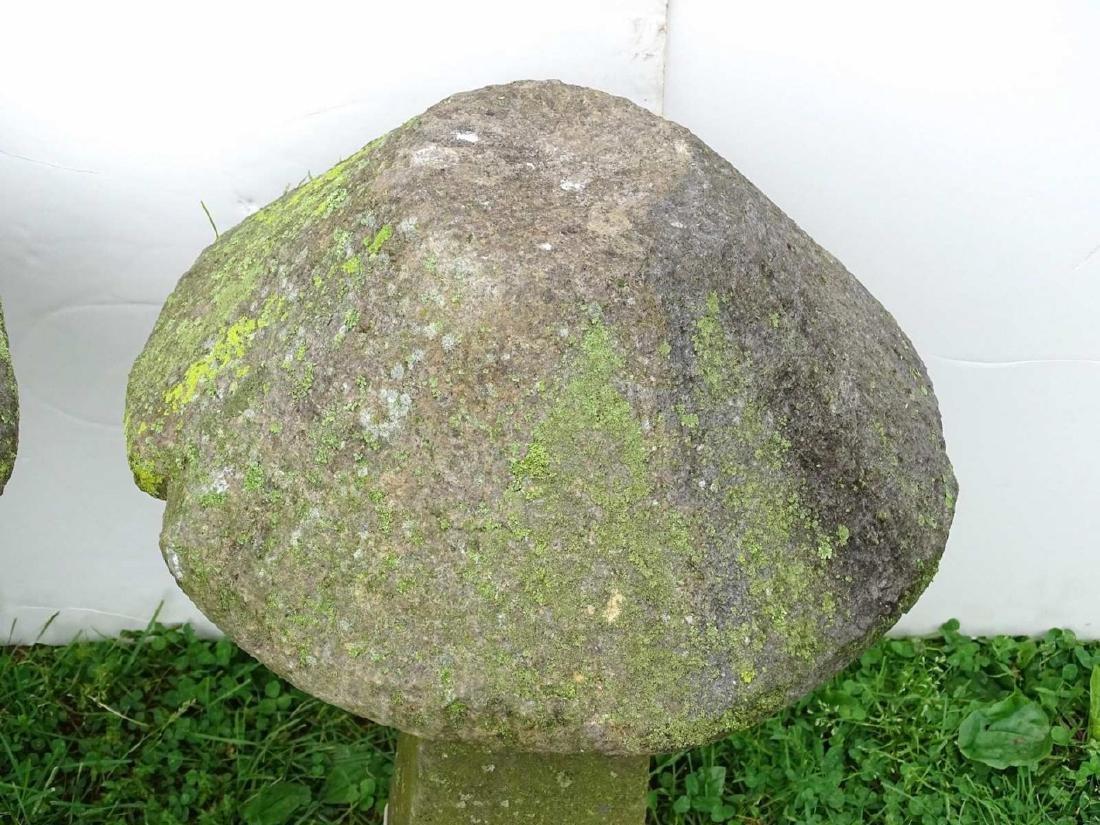 Pair Cut Stone Mushrooms - 2