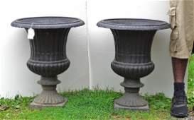 Pair Cast Iron Urns