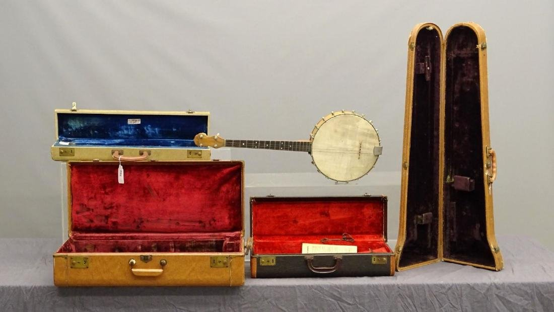 Instrument Cases And Banjo Lot