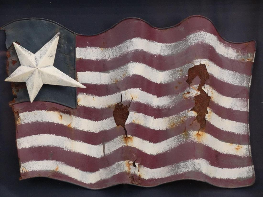 Folk Art Tin American Flag - 2