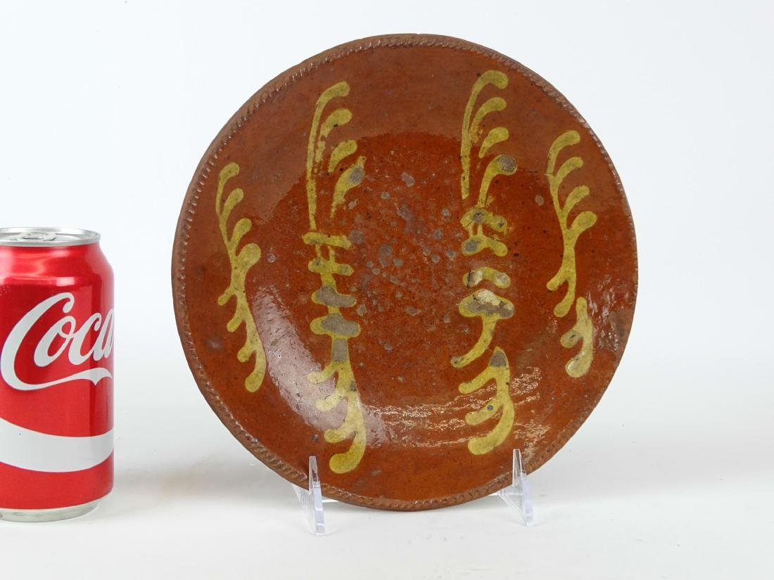 19th c. Redware Slip Decorated Plate