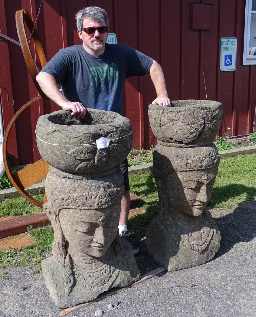 Pair Stone Urns