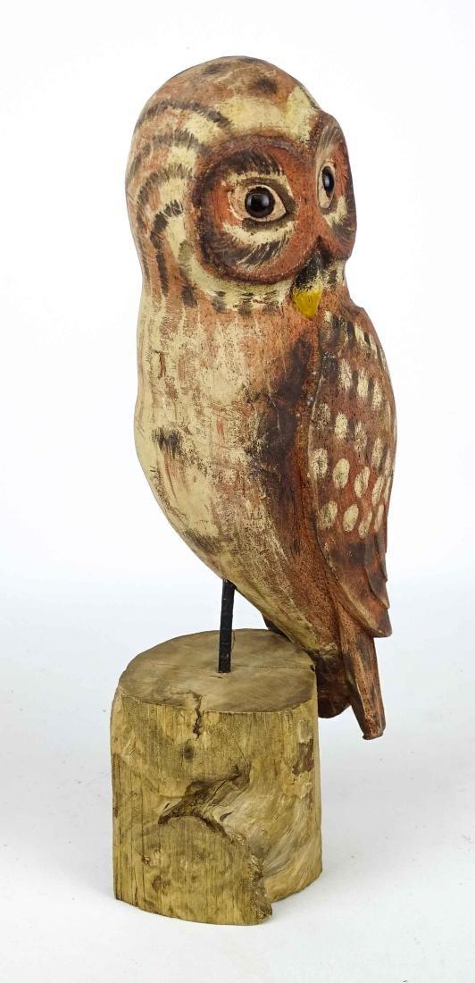 Folk Art Carved Owl - 2