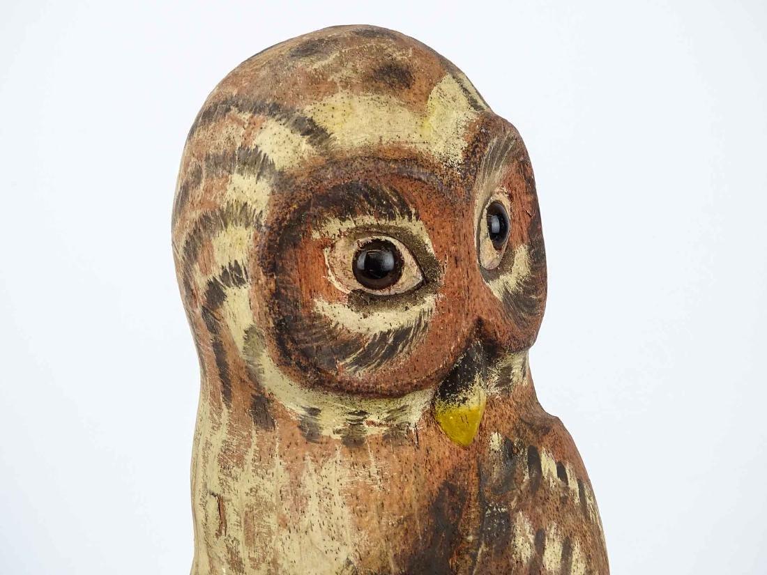 Folk Art Carved Owl - 3