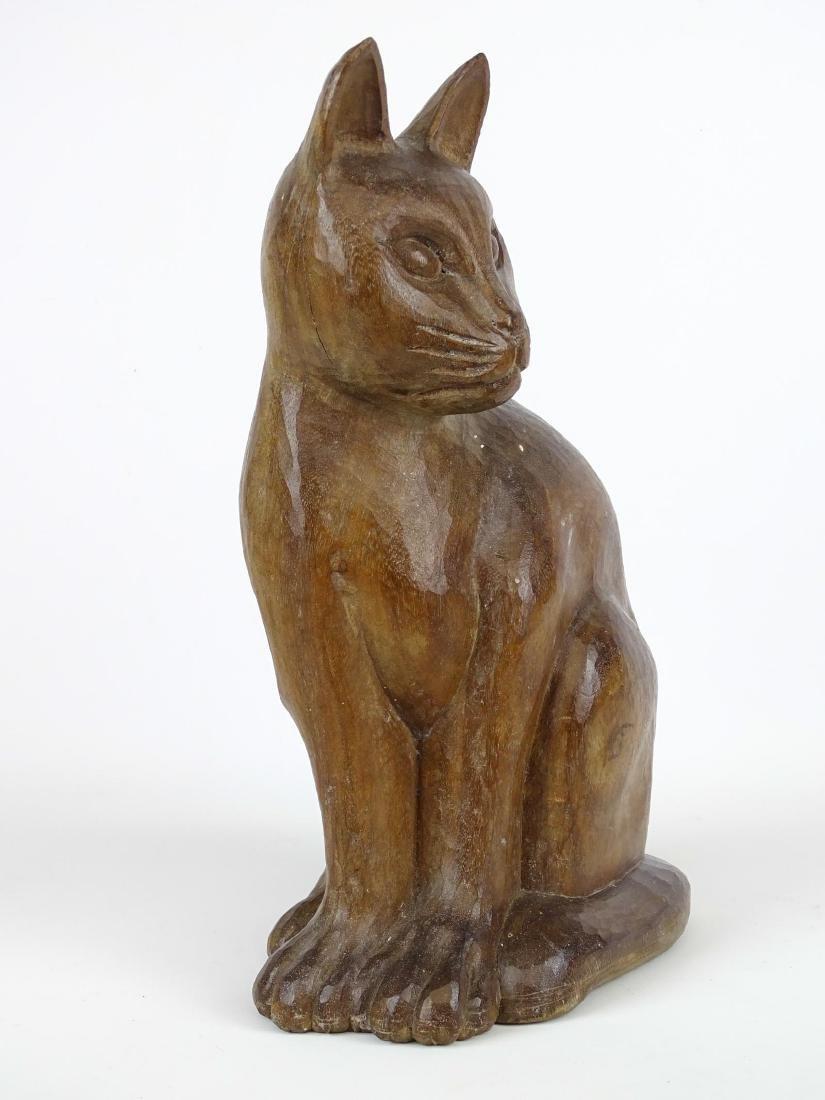 Folk Art Carved Wooden Cat - 3