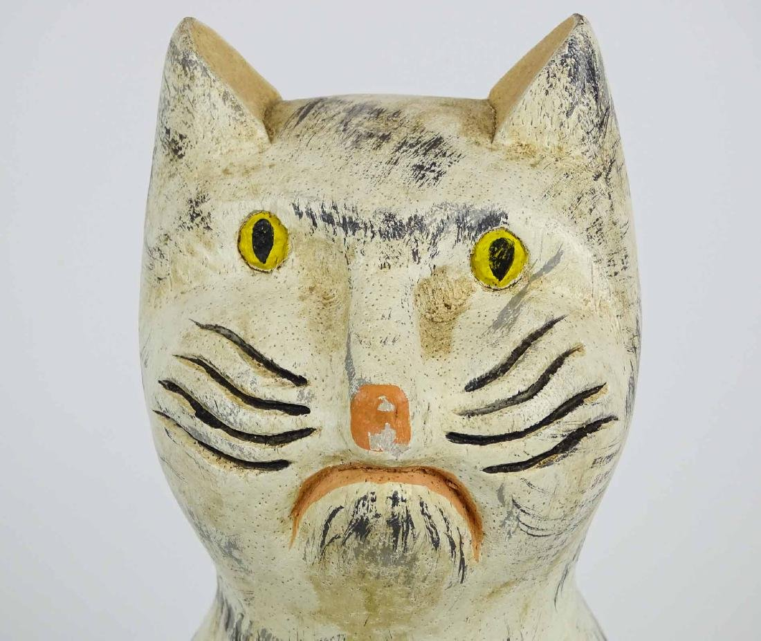 Folk Art Carved Wooden Cat - 2