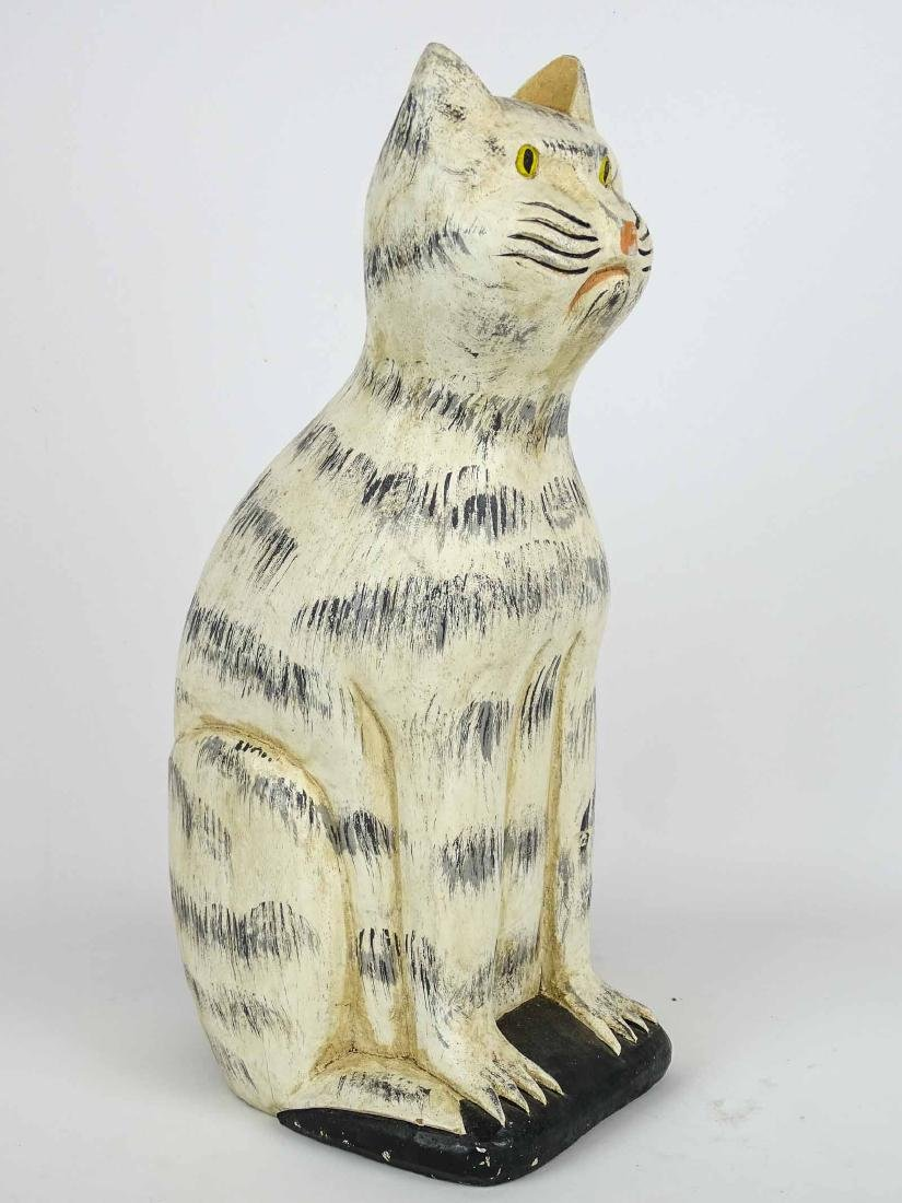 Folk Art Carved Wooden Cat - 3