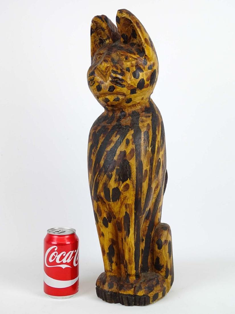 Folk Art Carved Wooden Cat