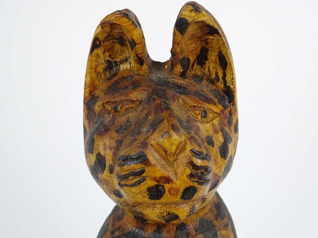 Folk Art Carved Wooden Cat - 2