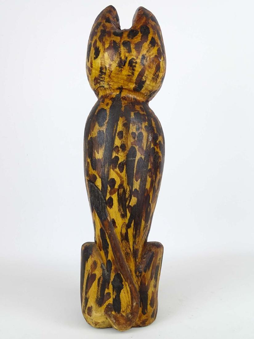 Folk Art Carved Wooden Cat - 4