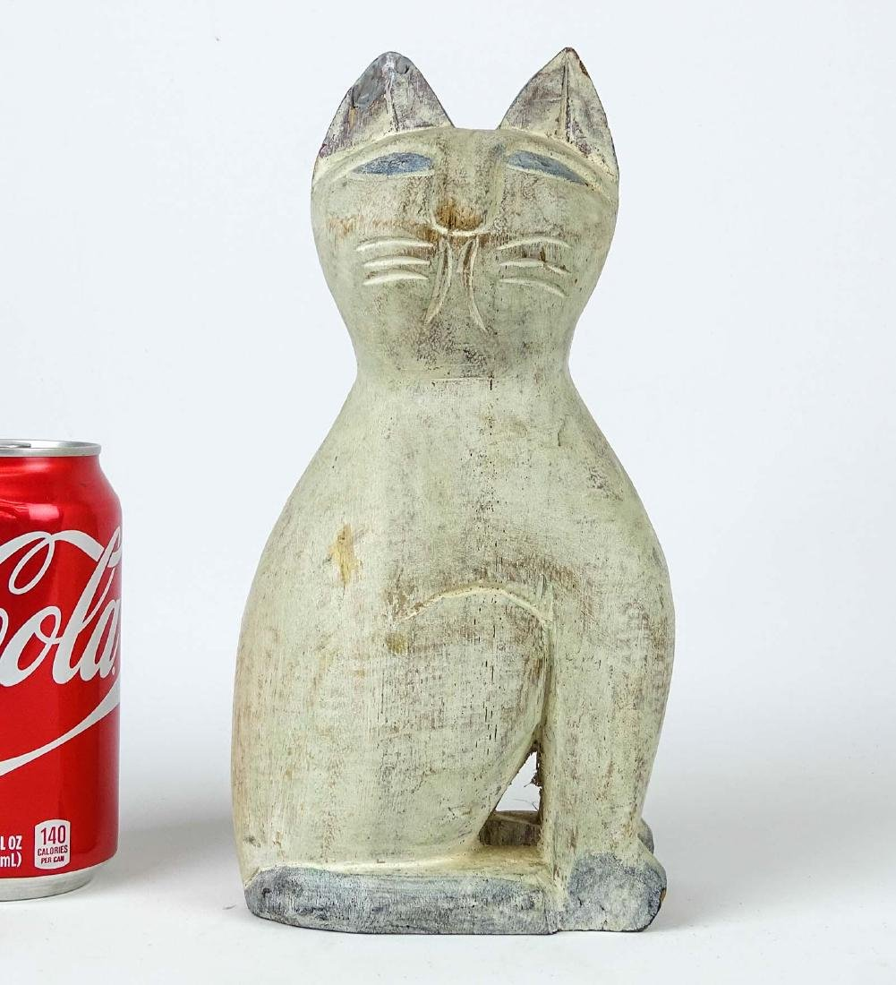 Folk Art Carved Wooden Cat