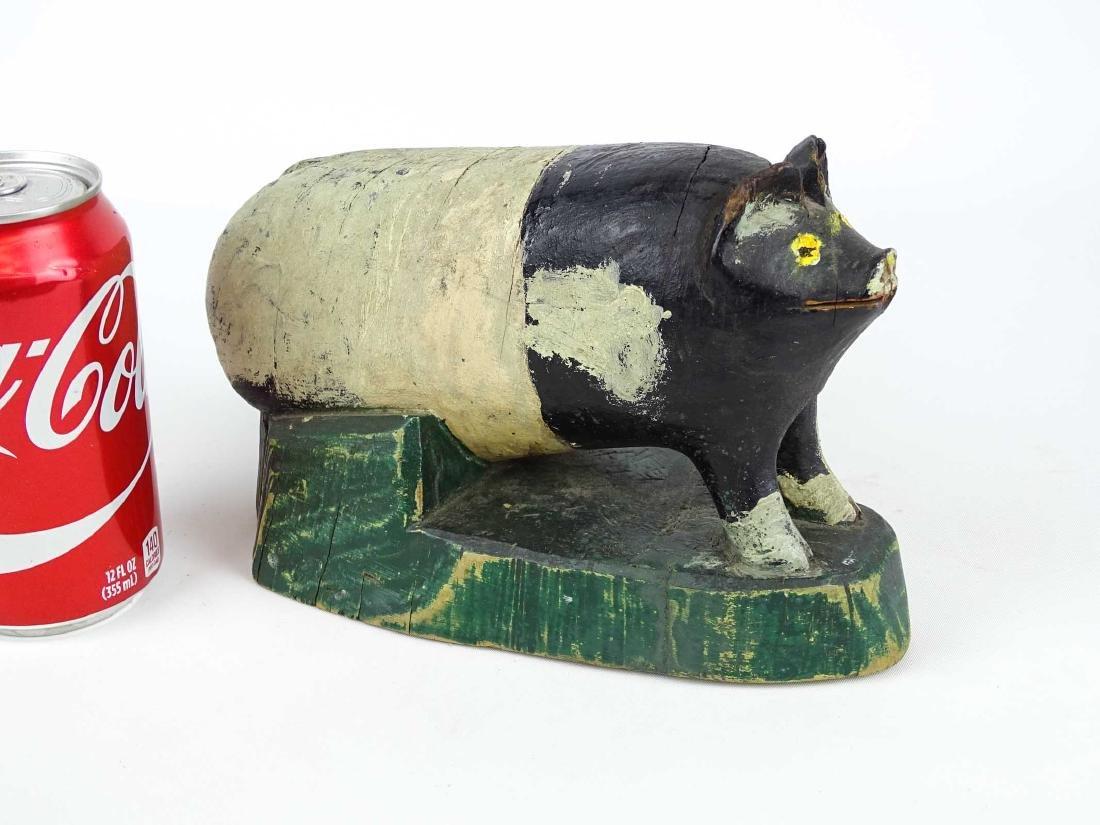 Folk Art Carved Wooden Pig