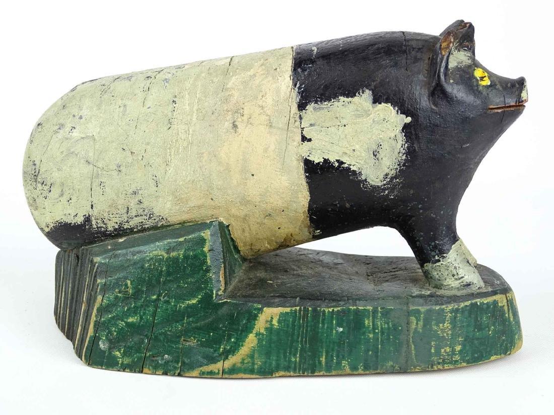 Folk Art Carved Wooden Pig - 3