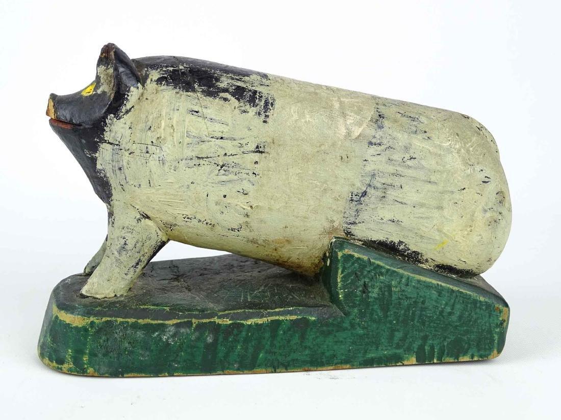 Folk Art Carved Wooden Pig - 4