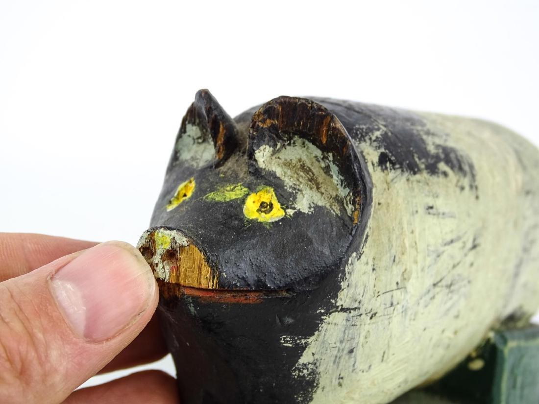 Folk Art Carved Wooden Pig - 5
