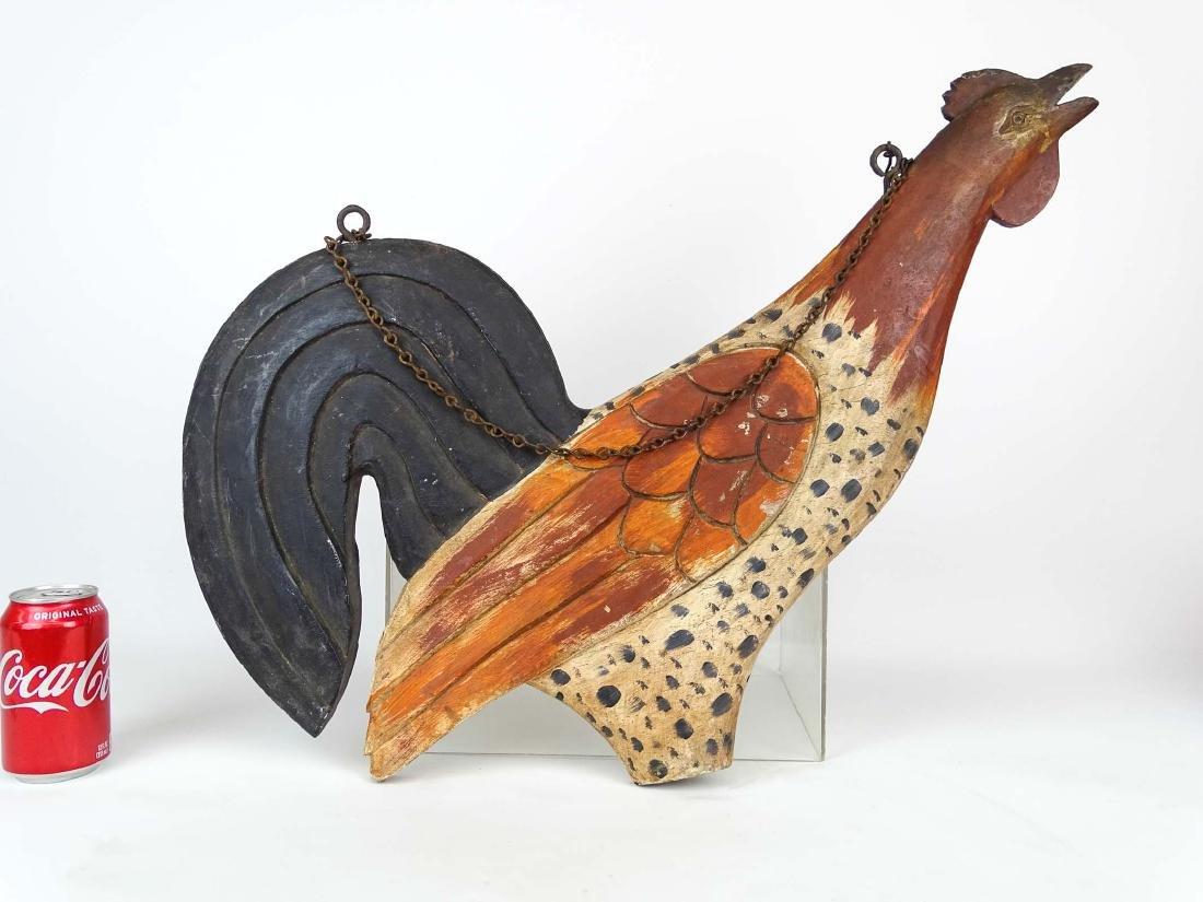 Folk Art Carved Wooden Rooster SIgn