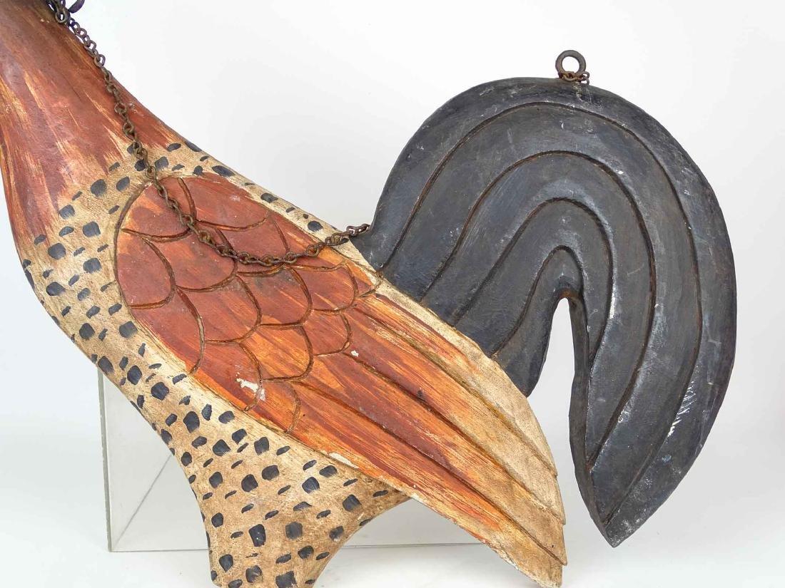 Folk Art Carved Wooden Rooster SIgn - 6