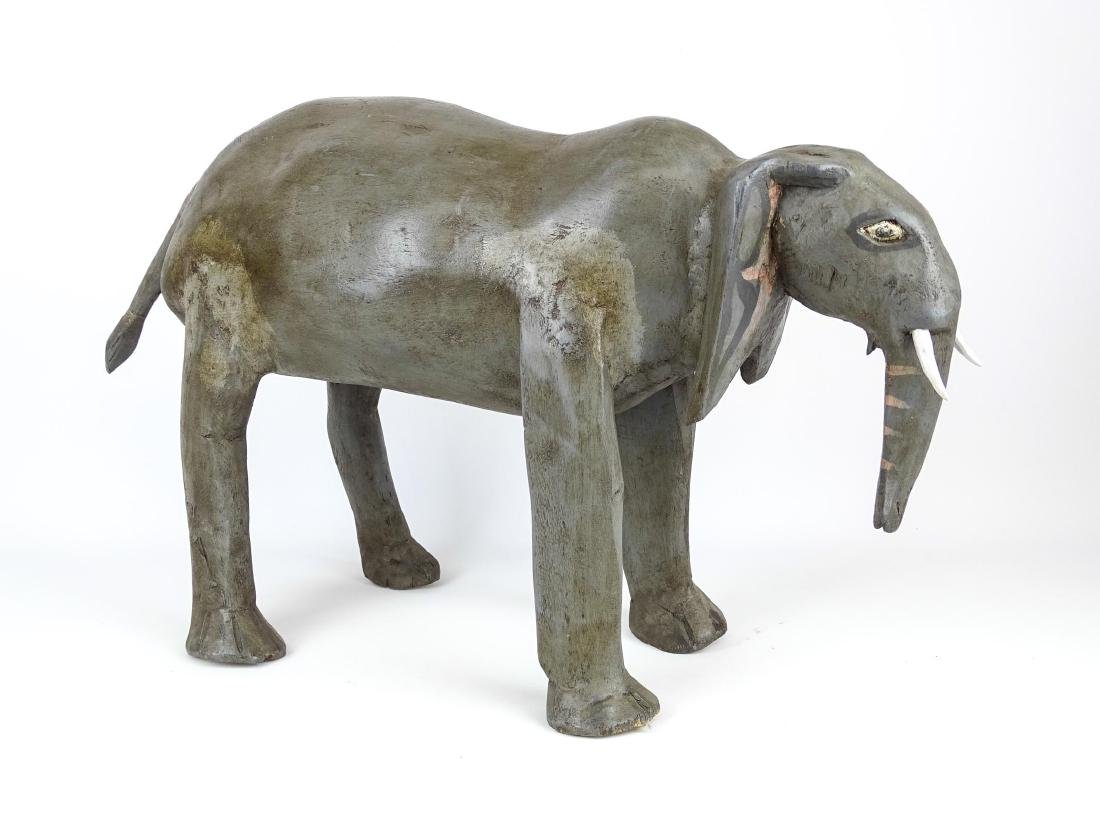 Folk Art Carved Wooden Elephant - 2