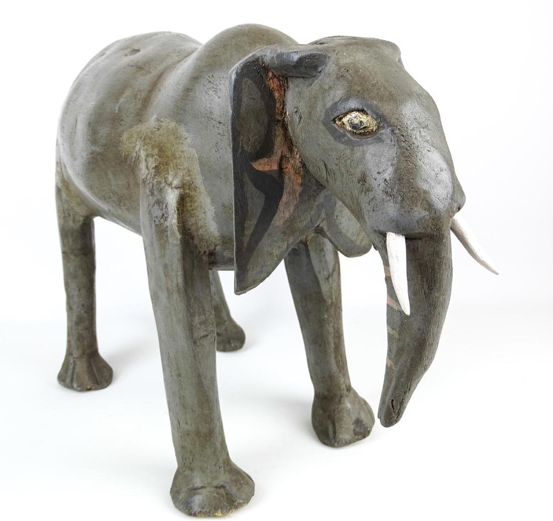 Folk Art Carved Wooden Elephant - 3
